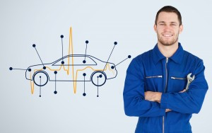 auto body mechanic with diagram